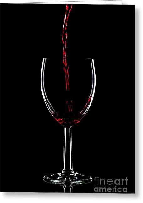 Wine Pouring Greeting Cards - Red wine pouring Greeting Card by Richard Thomas