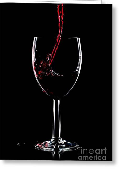 Wine Pouring Greeting Cards - Red wine splash Greeting Card by Richard Thomas