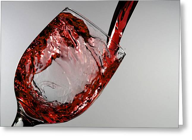 Pouring Digital Art Greeting Cards - Red wine splashing from a glass cup Greeting Card by Paul Ge