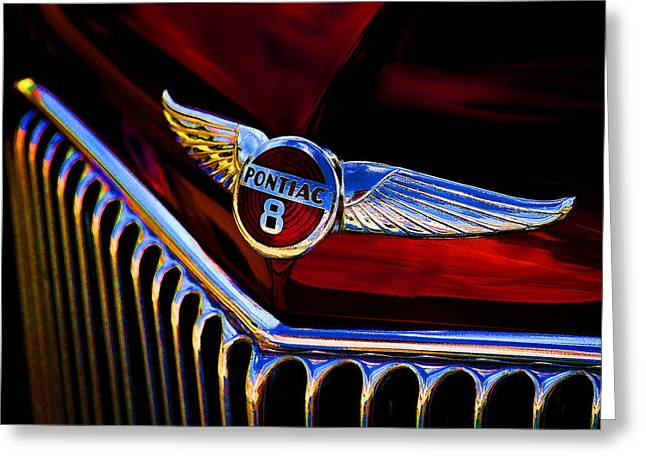 Vintage Hood Ornaments Digital Art Greeting Cards - Red Wings Greeting Card by Douglas Pittman