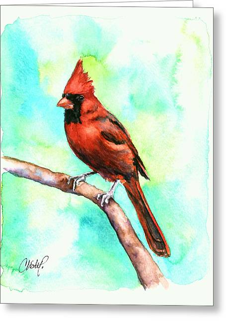 Baseball Paintings Greeting Cards - Redbird Cardinal Greeting Card by Christy  Freeman