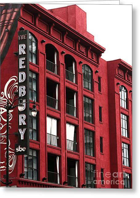 Red Buildings Greeting Cards - Redbury Greeting Card by John Rizzuto