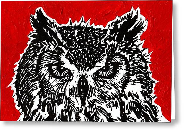 Redder Hotter Eagle Owl Greeting Card by Julia Forsyth