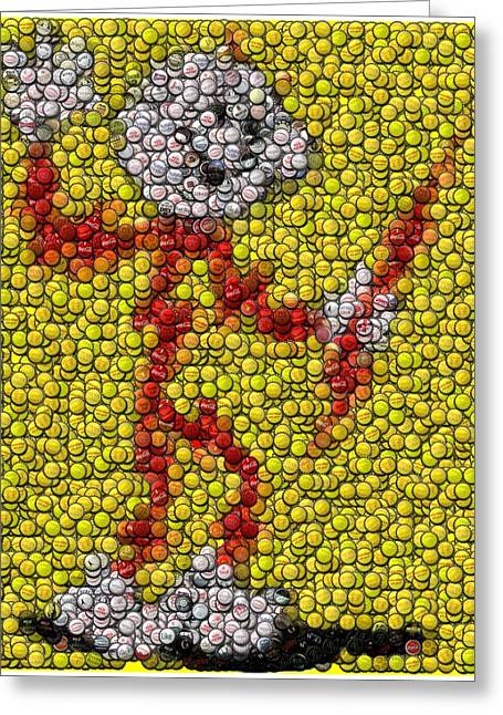 Bottlecaps Greeting Cards - Reddy Kilowatt Bottle Cap Mosaic Greeting Card by Paul Van Scott