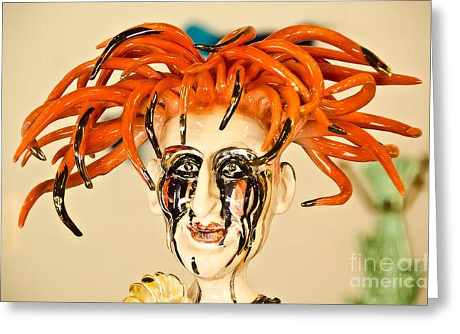 Shiny Glass Art Greeting Cards - Redhead beauty made of glass. Greeting Card by Yurix Sardinelly