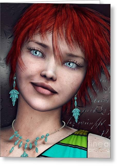 Freckles Greeting Cards - Redhead Greeting Card by Jutta Maria Pusl