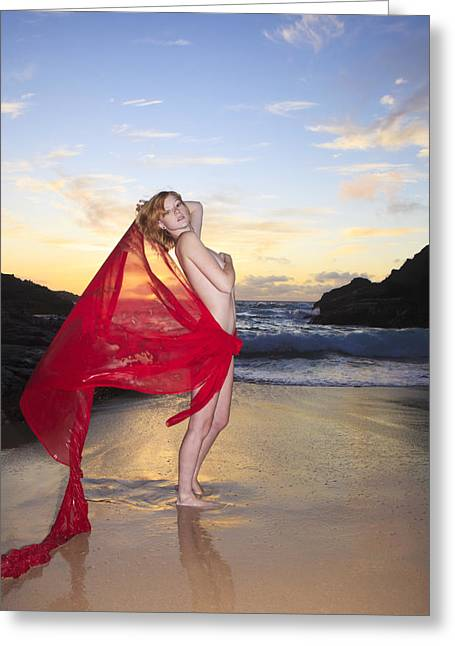 Youthful Greeting Cards - Redheaded model at Eternity Beach Greeting Card by Tomas del Amo - Printscapes