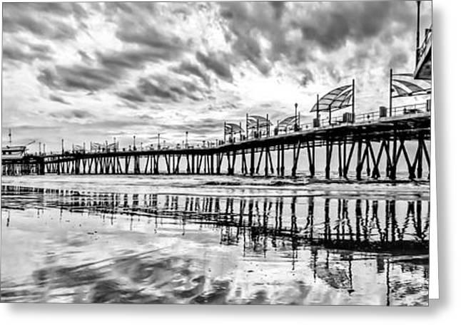 Tidal Photographs Greeting Cards - Redondo Beach Pier Panoramic Greeting Card by Josh Whalen