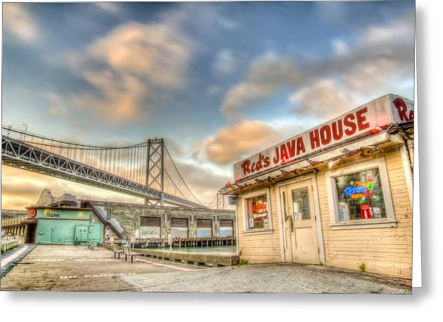 Warm Summer Greeting Cards - Reds and the Bay Bridge Greeting Card by Scott Norris