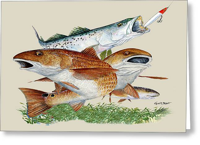 Kevin Brant Greeting Cards - Reds and Trout Greeting Card by Kevin Brant