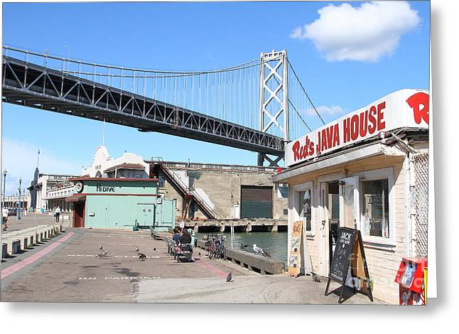 Big Basin Greeting Cards - Reds Java House and The Bay Bridge at San Francisco Embarcadero . 7D7712 Greeting Card by Wingsdomain Art and Photography