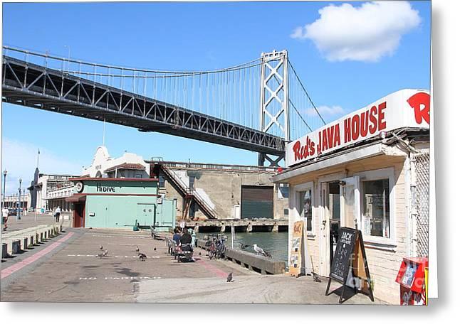 The Embarcadero Greeting Cards - Reds Java House and The Bay Bridge at San Francisco Embarcadero . 7D7712 Greeting Card by Wingsdomain Art and Photography