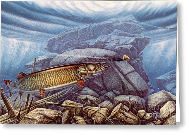 Muskies Greeting Cards - Reef King Musky Greeting Card by JQ Licensing