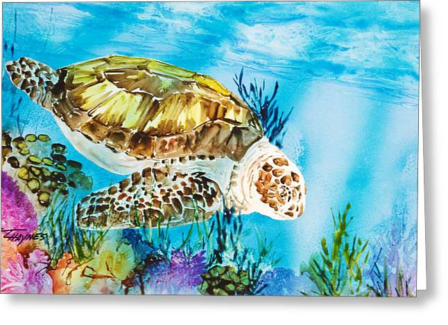 Green Sea Turtle Paintings Greeting Cards - Reef Surfin Greeting Card by Tanya L Haynes - Printscapes