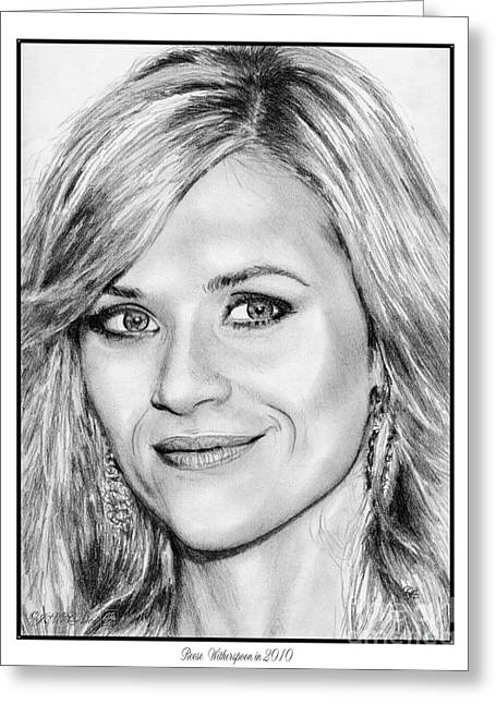 Reese Witherspoon In 2010 Greeting Card by J McCombie