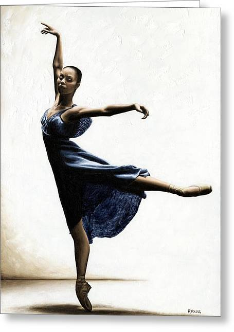 Ballet Dancers Paintings Greeting Cards - Refined Grace Greeting Card by Richard Young