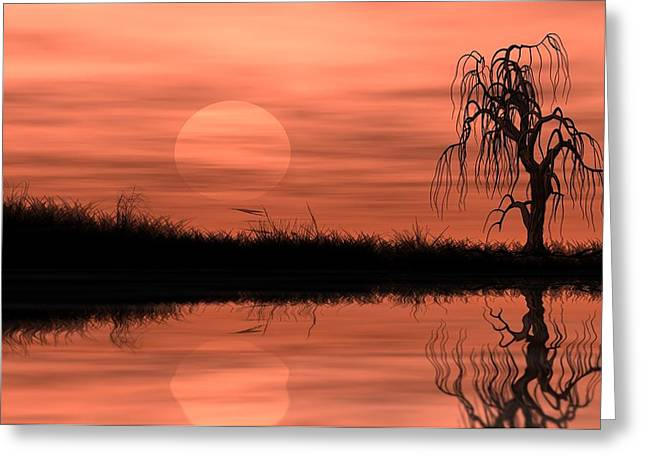Reflecting Water Drawings Greeting Cards - Reflected riparian tree in golden sunset  Greeting Card by Chih-Chung Johnny Chang