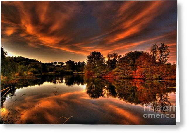 Kim Mixed Media Greeting Cards - Reflecting Autumn Greeting Card by Kim Shatwell-Irishphotographer