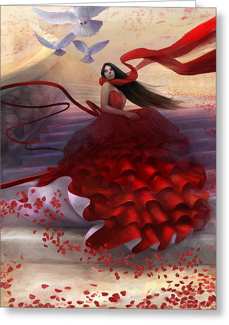 Woman In A Dress Greeting Cards - Reflecting Back Greeting Card by Steve Goad