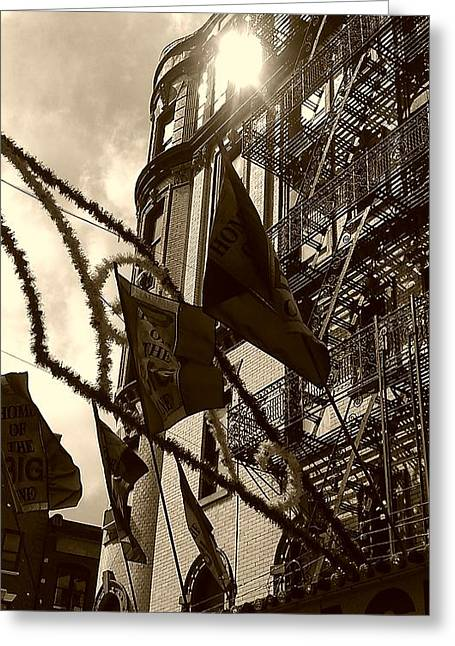 Reflecting In Little Italy Greeting Card by Catie Canetti