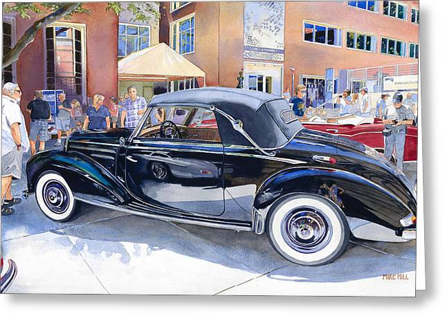 Mike Hill Greeting Cards - Reflecting on a Mercedes Greeting Card by Mike Hill