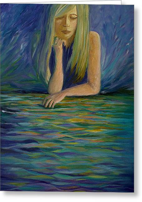 Lost In Thought Paintings Greeting Cards - Reflecting on my Youth Greeting Card by Joanne Smoley