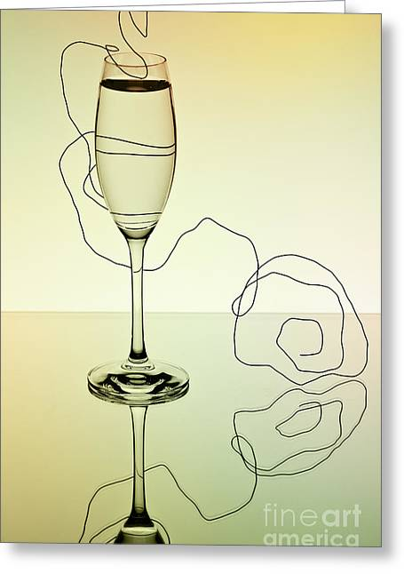 Sparkling Wine Greeting Cards - Reflection 01 Greeting Card by Nailia Schwarz