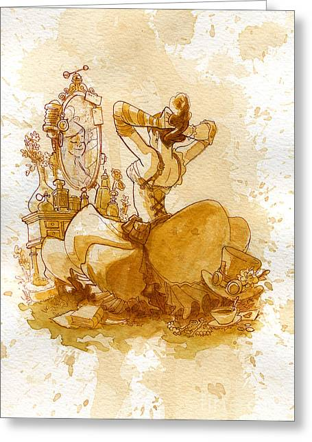 Corsets Greeting Cards - Reflection Greeting Card by Brian Kesinger