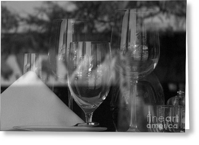 Glass Table Reflection Greeting Cards - Reflection in Black and White.. Greeting Card by John Marois