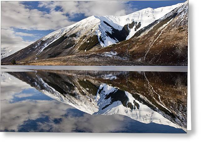 Reflection In Lake Pearson, Castle Hill Greeting Card by Colin Monteath