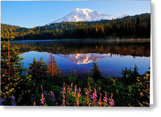 Mt Photographs Greeting Cards - Reflection Lake Mt Rainier Greeting Card by Alvin Kroon
