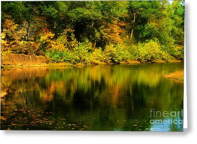 Reflection Harvest Greeting Cards - Reflection of Autumn Colors Greeting Card by Peggy  Franz