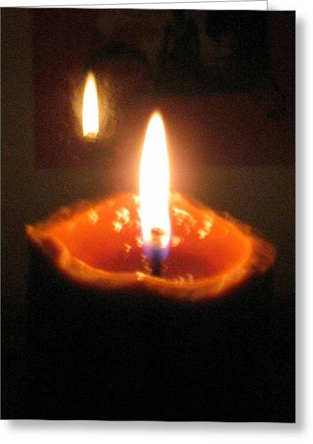 Reflection Of Burning Candle Greeting Card by Toni Roberts