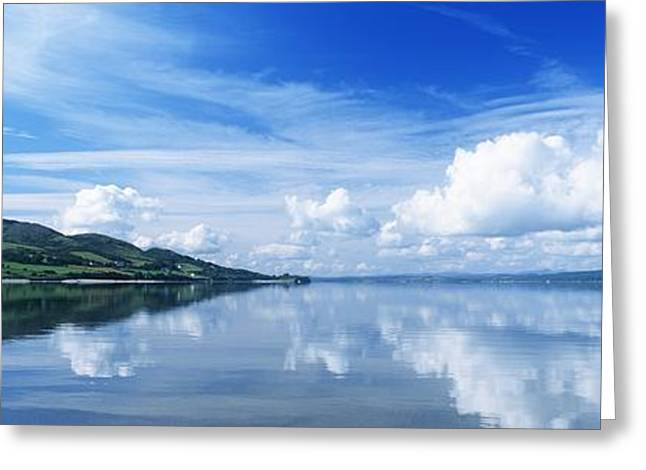 Cloud Reflections In Water Greeting Cards - Reflection Of Clouds In Water, Lough Greeting Card by The Irish Image Collection