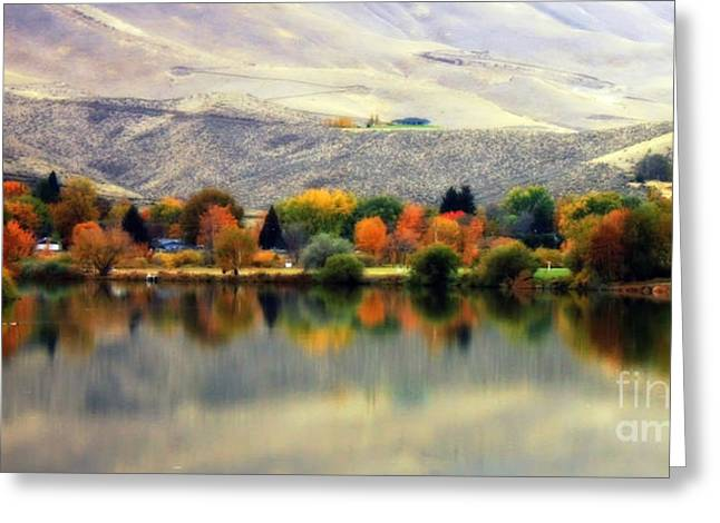 Yakima Valley Greeting Cards - Reflection of Fall in Prosser Greeting Card by Carol Groenen