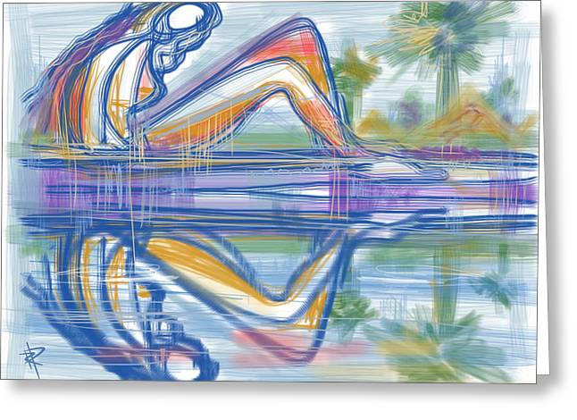 Pondering Mixed Media Greeting Cards - Reflection Greeting Card by Russell Pierce
