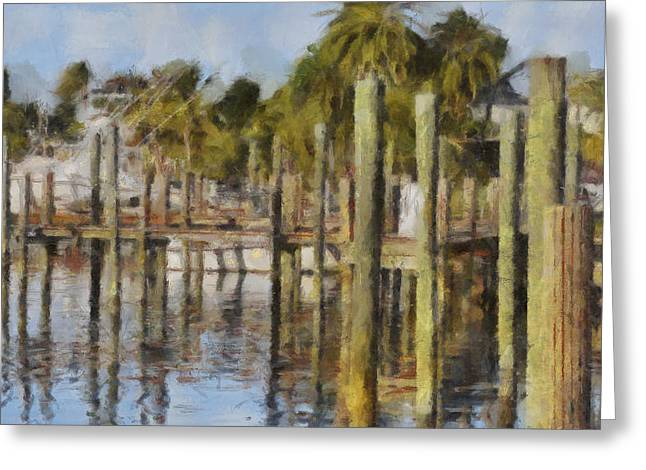 Reflections At Fort Pierce Greeting Card by Trish Tritz