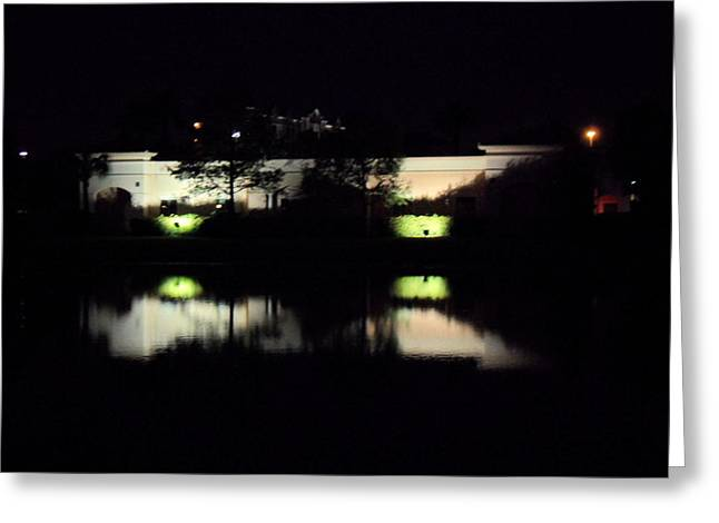 Buildings Reflecting In Water Greeting Cards - Reflections at Night Greeting Card by Val Oconnor