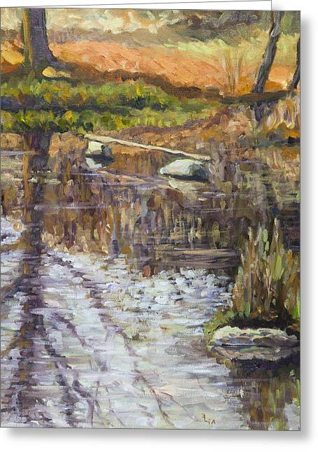Oil On Canvas Board Greeting Cards - Reflections Greeting Card by Elena Liachenko