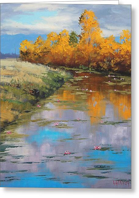 Fall Trees Greeting Cards - Reflections Greeting Card by Graham Gercken