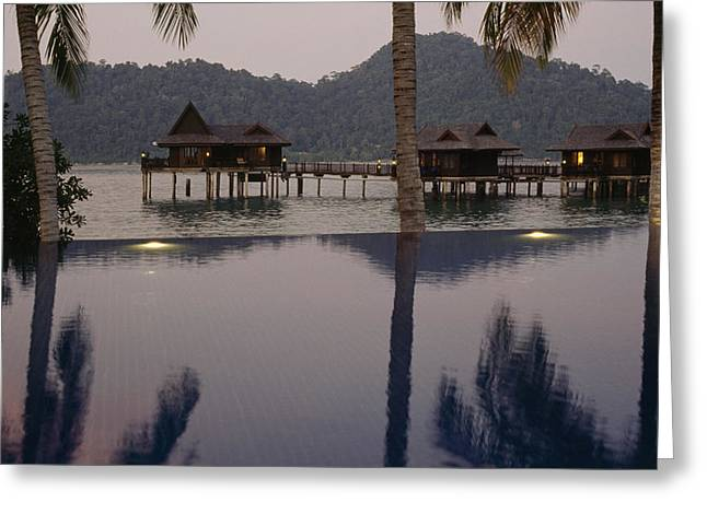 Pangkor Greeting Cards - Reflections In A Pool And Traditional Greeting Card by Justin Guariglia