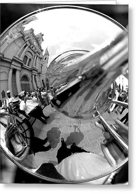 Black-and-white Greeting Cards - Reflections in a Trombone Greeting Card by Todd Fox