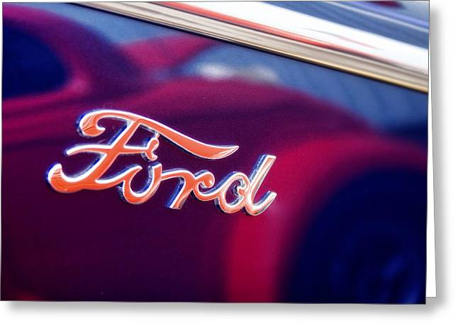 Blue Ford Greeting Cards - Reflections in an Old Ford Automobile Greeting Card by Carol Leigh