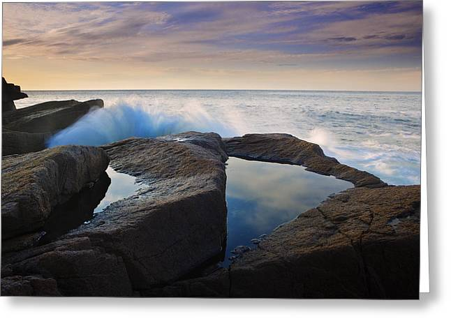 Maine Photographs Greeting Cards - Reflections in Monument Cove Greeting Card by Rick Berk