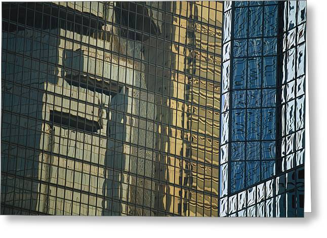 Art Of Building Greeting Cards - Reflections In Office Buildings Greeting Card by Justin Guariglia