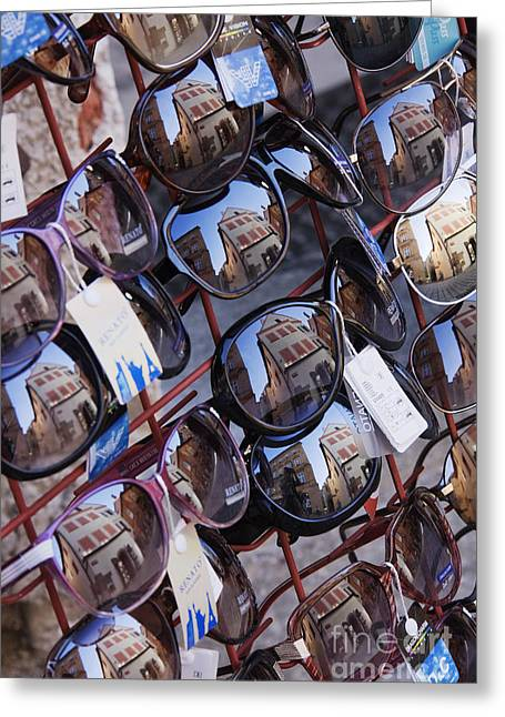 Glass Reflecting Greeting Cards - Reflections in Sunglasses Greeting Card by Jeremy Woodhouse