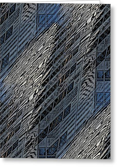 Glasses Reflecting Digital Art Greeting Cards - Reflections Of A City 4 Greeting Card by Tim Allen