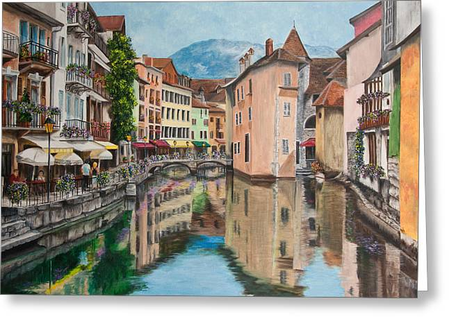 Water Scene Greeting Cards - Reflections Of Annecy Greeting Card by Charlotte Blanchard