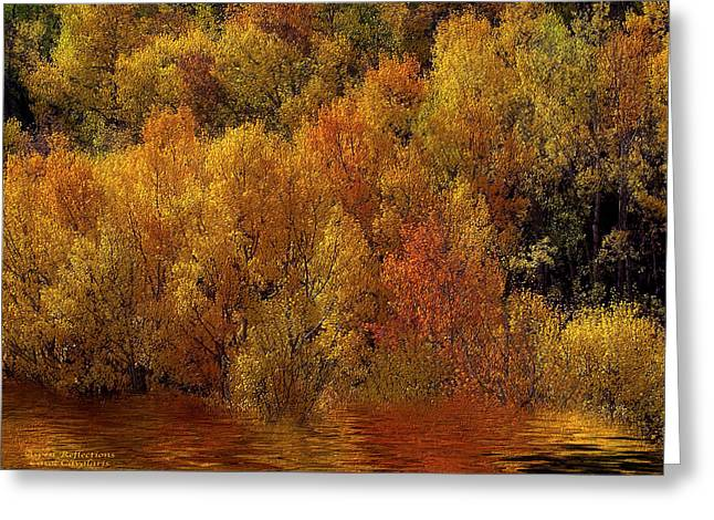 Fall Scenes Mixed Media Greeting Cards - Reflections Of Autumn Greeting Card by Carol Cavalaris
