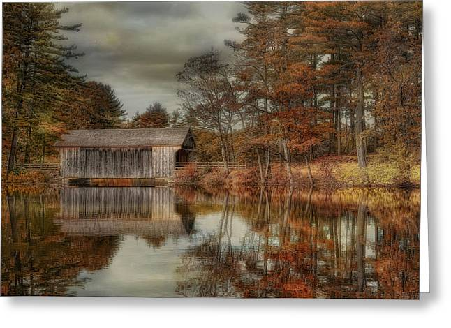 Covered Bridge Greeting Cards - Reflections of Autumn Greeting Card by Robin-lee Vieira